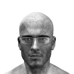 man with crumbling skin
