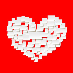 Post it notes heart on red