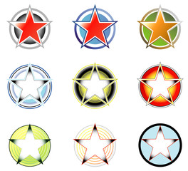 Set of logos: star and circle form 2