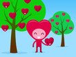 Smiling Heart Character Picking Fruit In Orchard