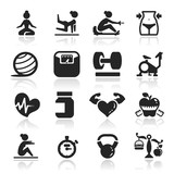 Fitness Icons set elegant series