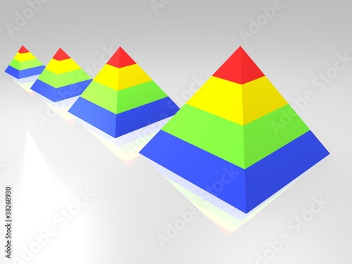 crescent line of coloured pyramids