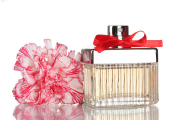 Perfume bottle with red bow and carnation isolated on white