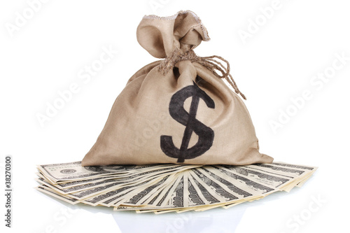 A lot of one hundred dollar bills in a bag isolated on white