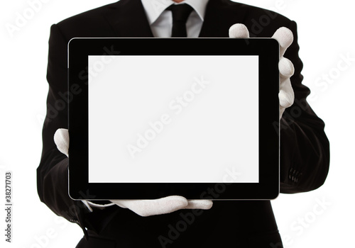 Elegant man holding blank digital tablet with clipping path