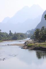 River song landscape, Laos.