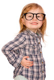 little girl with red hair and glasses