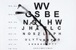 Glasses on eyesight test chart