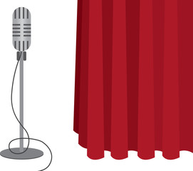 Grey microphone on a stand with red curtain
