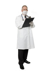 Masked doctor on white with clipboard
