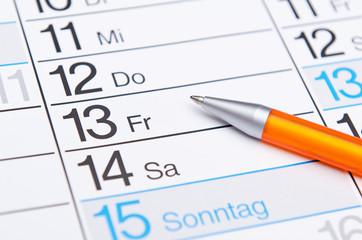 Kalender Freitag der 13 mit Stift