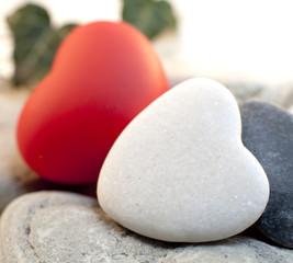 deux coeurs rouge et blanc