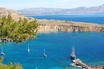 Panoramic view of a bay in Lindos, Rhodos Island, Greece