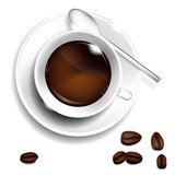 Fototapety Cup of coffee-spoon-coffee beans. Realistic vector.