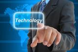 businessman hand pushing technology button
