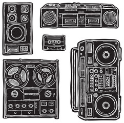 Set of black&white vector tape recorders.