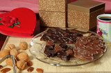 Valentine assortment of chocolates, nuts, coffee