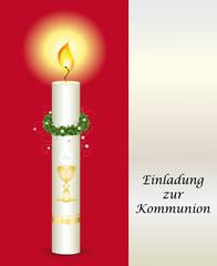 Einladung zur Kommunion in rot für Mädels
