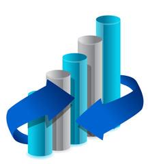 blue business graph illustration  design on white