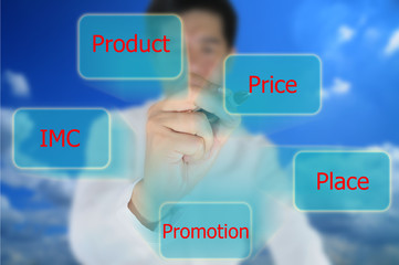Asiasian business man write marketing mix for business