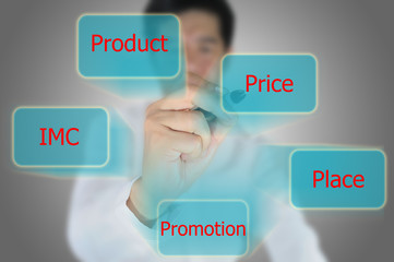 Asian business man write marketing mix for business