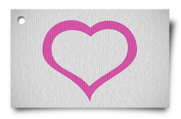 fabric craft tag with valentine's day