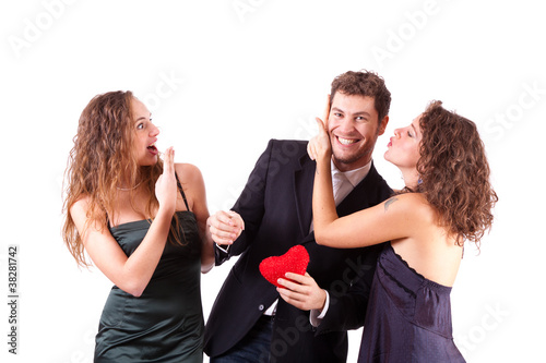 Handsome Man with two Women Flirting
