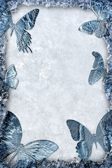 Blue ice frame with butterflies background