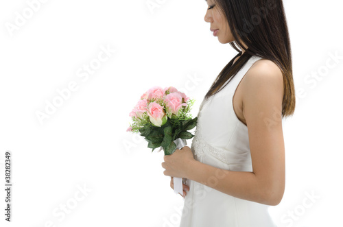 asian bride with copyspace for text purpose