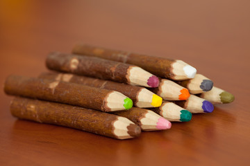 Colored pencils made out of wood bark