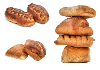 Fresh rolls isolated on a white background