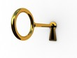 Golden key on a white background, 3D