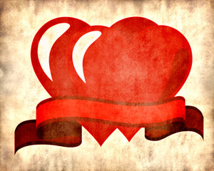 Two red hearts and a ribbon on parchment background