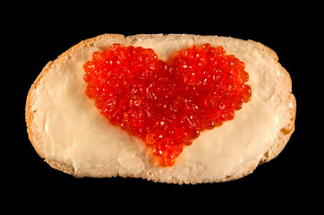 Heart from red caviar