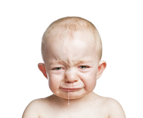 crying baby boy isolated