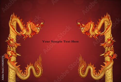 Poster Dragon Statue on red and black background, wallpaper