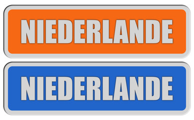 2 Sticker orange blau rel NIEDERLANDE
