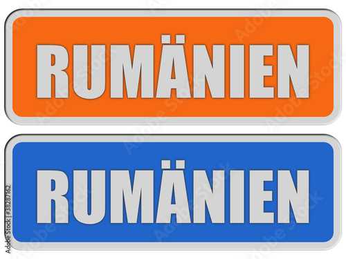 2 Sticker orange blau rel RUMÄNIEN