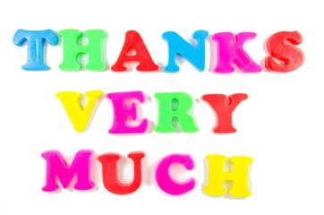 thanks very much written in fridge magnets