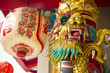 Gold and colorful chinese dragon statue binding pole.