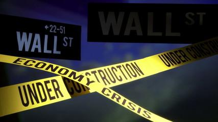 Wall Street - under construction, economy crisis