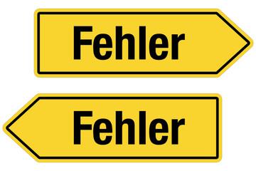 2 Pfeilschilder gelb FEHLER