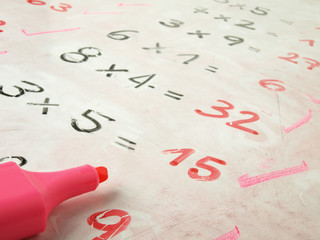Examination on a blackboard