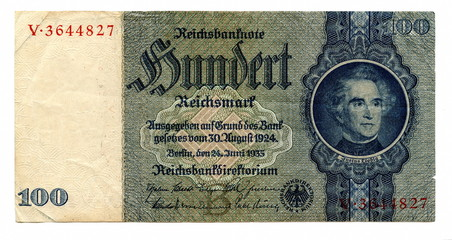 Vintage money - 100 reichsmarks (Germany)