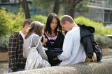 Students looking at a rucksack
