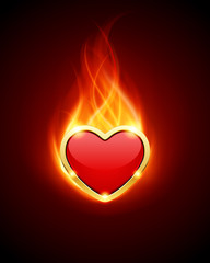 Burn heart flame fire vector background