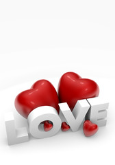 Valentine hearts and love word