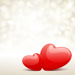 Valentine's day vector background with two hearts and light