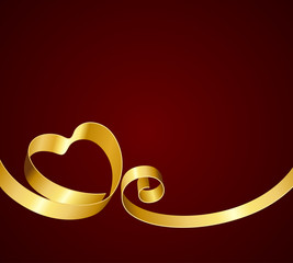 Heart from ribbon Valentine's day vector background