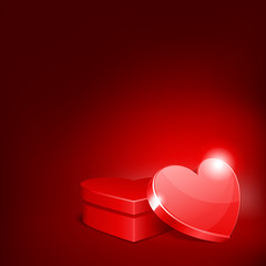 Heart gift present with heart Valentine's day vector background